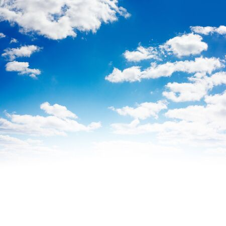 overexposed: Blue sky with clouds. Overexposed bottom part (isolated on white). Stock Photo