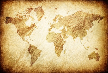 grime: Grunge rubbed map of the world background. Stock Photo
