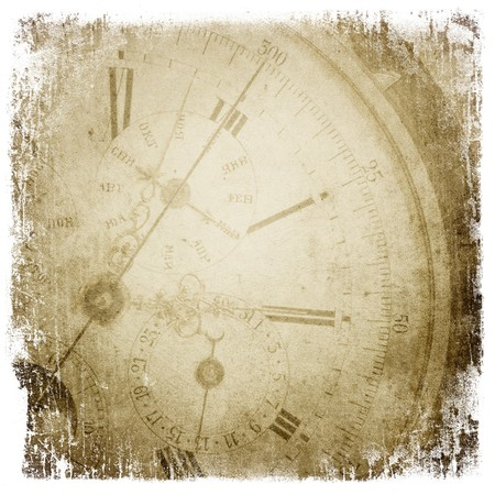 Antique pocket clock face. Grunge background with isolated borders. photo