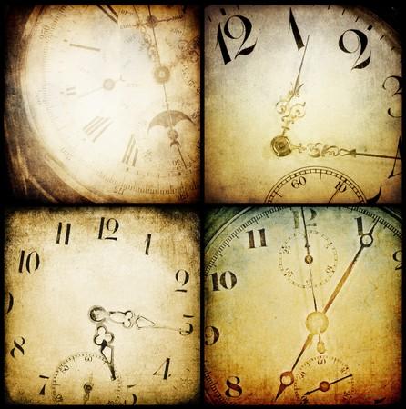 Antique pocket clock faces. Grunge backgrounds collection. photo