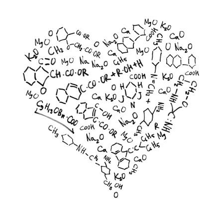 symbole chimique: Les formules chimiques, isol�s sur fond blanc en forme de coeur.  Banque d'images