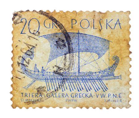 POLSKA - CIRCA 1950s: Vintage Polish postage stamp with ship grecka galera, circa 1950s