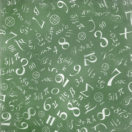 maths: mathematics formulas abstract background (on green chalkboard)