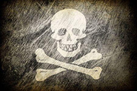 infringement: Grunge rubbed flag of Jolly Roger.