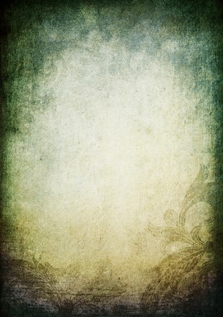 pictorial: Pictorial vintage background with floral frame. Vertical orientation. Stock Photo
