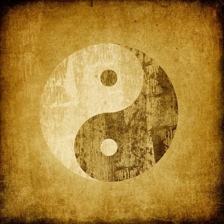 daoism: Grunge yin yang symbol background. Stock Photo