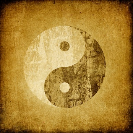 yan yang: Grunge yin yang symbol background. Stock Photo