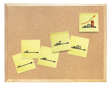 Diagram of business success, composed on cork board. Isolated, include clipping path. Stock Photo - 7853278