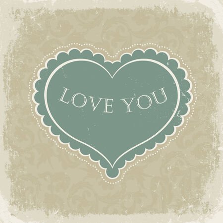 Vintage gift card with heart shaped space for text in a  in beige gamut Vector