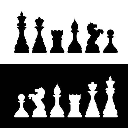 chess knight: Bianco e nero Chess figura Silhouettes.