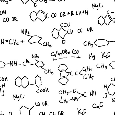 Seamless Chemistry Formulas Pattern  Vector