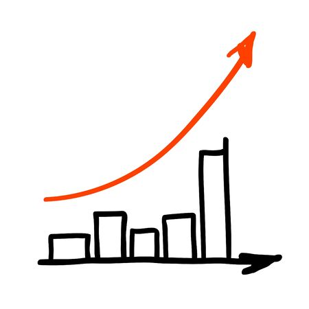 acquisition: Red arrow successful graph. Hand drawing, isolated. Stock Photo