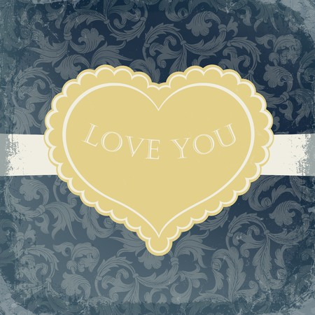Golden vintage gift card with heart shaped copyspace. photo