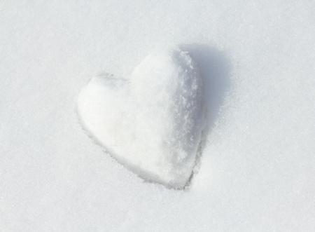 Snow Heart. Shallow depth of field. photo
