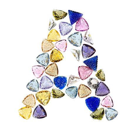 Gemstones alphabet, letter A. Isolated on white background. Stock Photo - 9201384