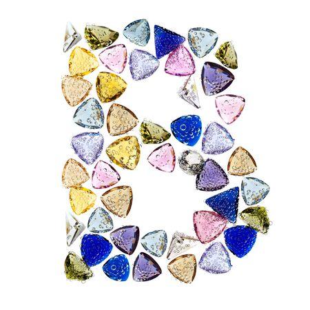 Gemstones alphabet, letter B. Isolated on white background. Stock Photo - 9201431