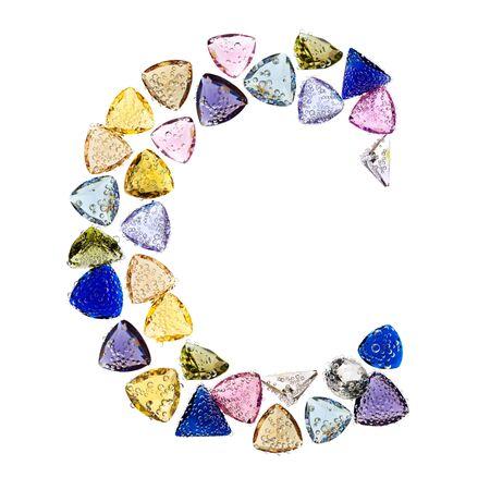 Gemstones alphabet, letter C. Isolated on white background. Stock Photo - 9201379