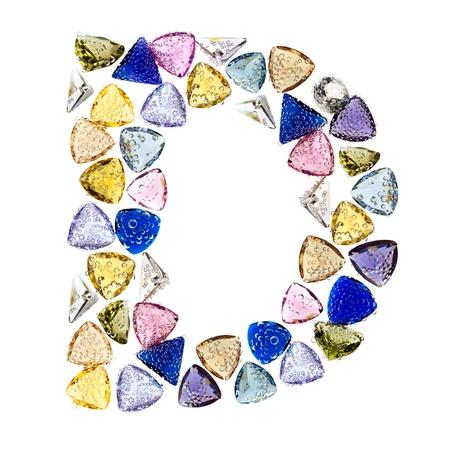 Gemstones alphabet, letter D. Isolated on white background. Stock Photo - 9201442