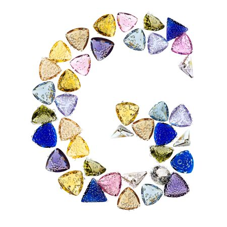 Gemstones alphabet, letter G. Isolated on white background. Stock Photo - 9201441