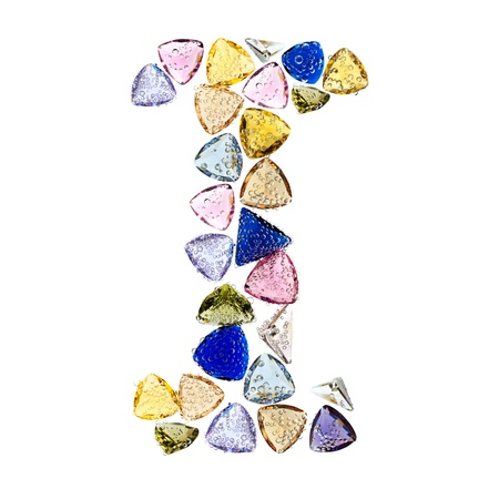 Gemstones alphabet, letter I. Isolated on white background. Stock Photo - 9201435