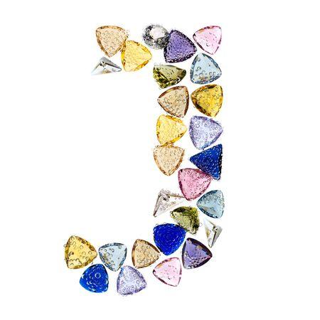 Gemstones alphabet, letter J. Isolated on white background. Stock Photo - 9201434