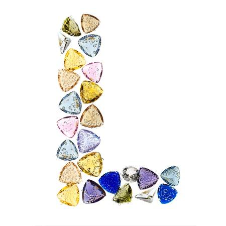 Gemstones alphabet, letter L. Isolated on white background. Stock Photo - 9201436