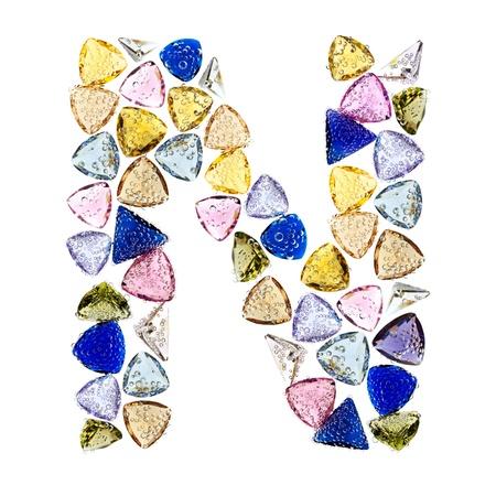 Gemstones alphabet, letter A. Isolated on white background. Stock Photo - 9236233