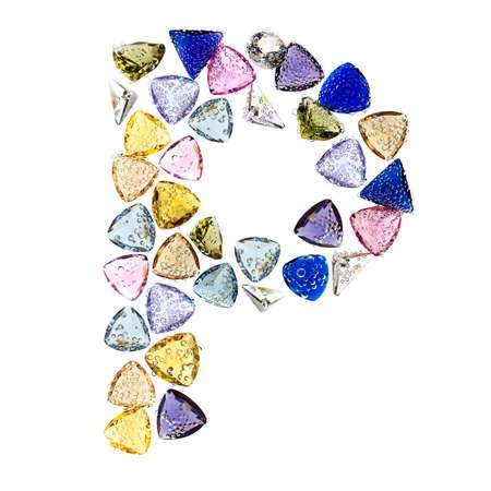 Gemstones alphabet, letter P. Isolated on white background. Stock Photo - 9236227