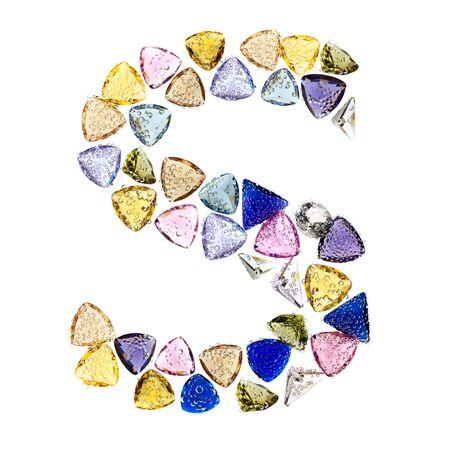 Gemstones alphabet, letter S. Isolated on white background. Stock Photo - 9236229