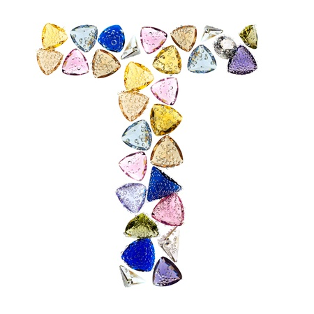 Gemstones alphabet, letter T. Isolated on white background. Stock Photo - 9236224