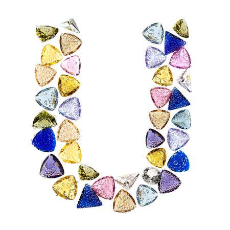 Gemstones alphabet, letter U. Isolated on white background. Stock Photo - 9236228