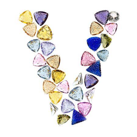Gemstones alphabet, letter V. Isolated on white background. Stock Photo - 9236225