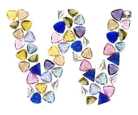 Gemstones alphabet, letter W. Isolated on white background. Stock Photo - 9236235