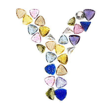 Gemstones alphabet, letter Y. Isolated on white background. Stock Photo - 9236223