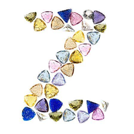 letter a z: Gemstones alphabet, letter Z. Isolated on white background.