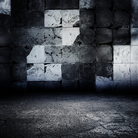 Dark Grungy Abandoned Tiled Room. Stock Photo - 9390323