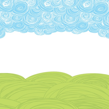 handmade graphic texture: Earth and sky. Abstract scribble background with copy-space.