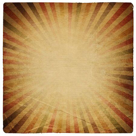 grunge edge: Square shaped sunburst ornated paper sheet. Isolated on white. Stock Photo