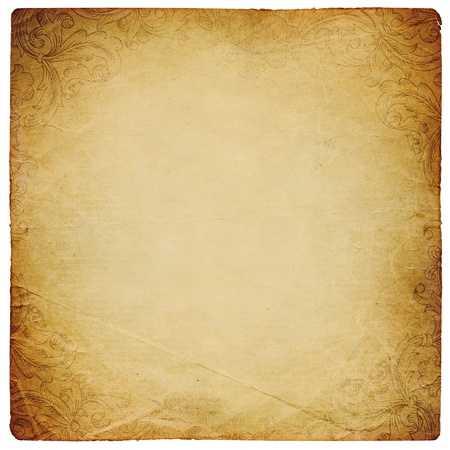 ornated: Ornated vintage square shaped paper sheet. Isolated on white. Stock Photo