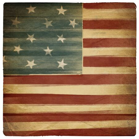 Vintage square shaped old american patriotic background. Isolated on white. photo
