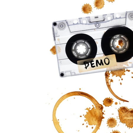 Vintage demo tape with coffee stains. Isolated on white background Stock Photo - 9928512