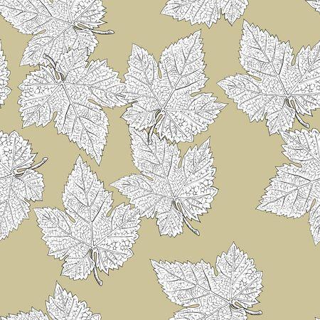 grape leaves: Grape leaves. Seamless pattern. Vector, eps8, easy editable.
