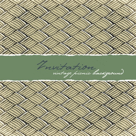 beach mat: Invitation card with space for text. Vintage picnic background.