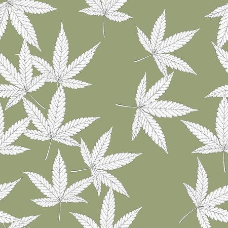hanf: Cannabis Bl�tter, nahtlose Muster. Illustration