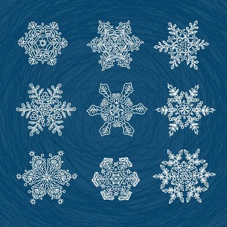 conformation: Macro-estructura de los copos de nieve real, transformado y elaborado como ornamentales formas utilizables. Conjunto de nueve formas.