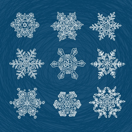 transformed: Macro-structure of real snowflakes, transformed and drawn as ornamental usable shapes. Set of nine forms. Illustration