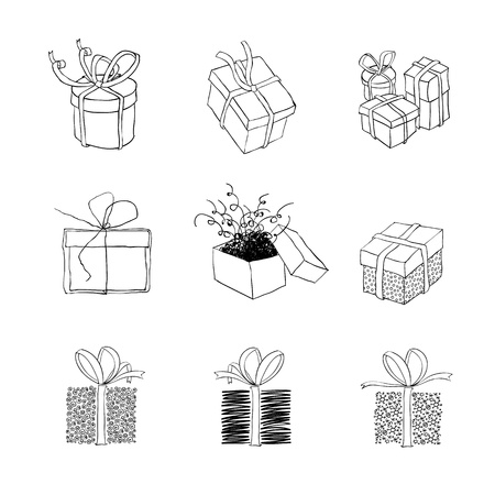 Gift box for xmas designs. Set of nine illustrations Illustration