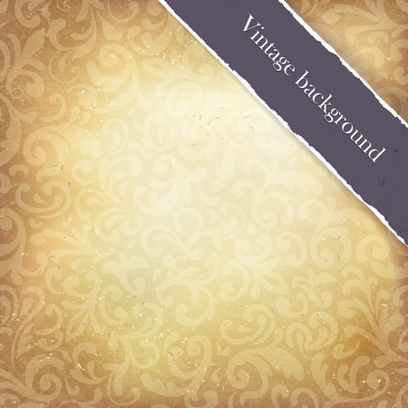 Vintage paper ornamented background with ribbon  Vector