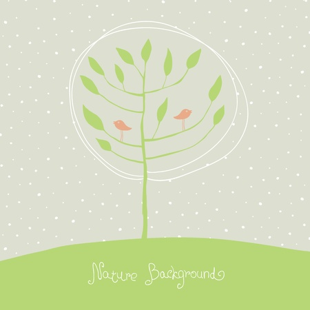 Green tree with birds on branches.  Vector