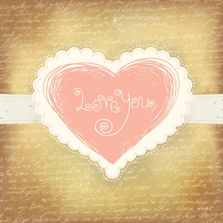 Beautiful greeting vintage Valentine`s card with pink heart. Stock Photo - 11547775